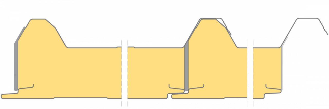 Łączenie płyt Płyta warstwowa dachowa poliuretanowa IzoRoof+ PIRPIR+