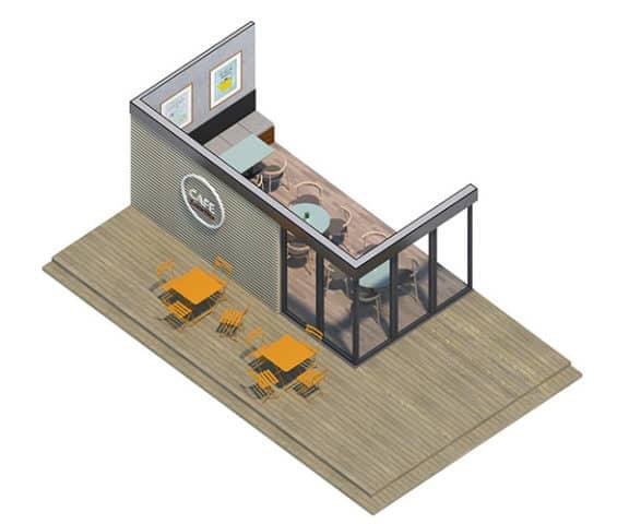 Moduł lewy biura modułowego z płyty warstwowej