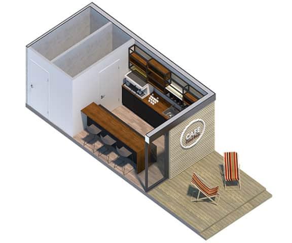 Moduł sanitarny - część kawiarni na bazie pawilonu