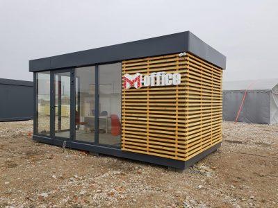 pawilon modułowy wyższy standard z elewacją drewnianą
